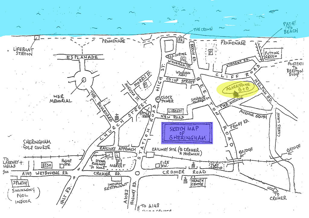 Location of Alverstone B&B in Sheringham