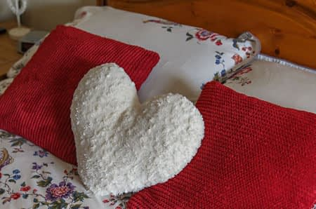 Close-up of heart cushion