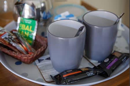 Example of the beverage tray in each room